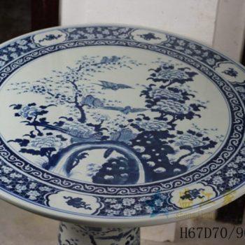 RYLU56-B 手绘青花花鸟风景画瓷桌