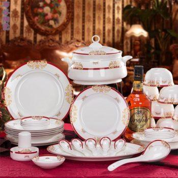 CJ55-B维多利亚红色图纹骨瓷餐具套装 56头景德镇骨瓷餐具