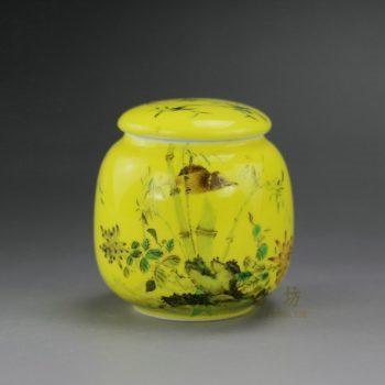 RYIC32-A 颜色釉黄釉手绘粉彩鸟鸣翠竹图茶叶罐 盖罐 密封罐 尺寸: 口径 4.2厘米 肚径 6.5厘米 高 6.8厘米