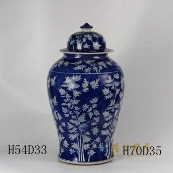 RYLU45 1788手绘青花翠竹图将军罐 盖罐 储物罐