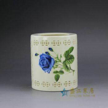RYXH12-B 粉彩镂空双钱图花卉纹笔筒 文房用具 尺寸: 口径 7厘米 肚径 10.2厘米 高 11.8厘米