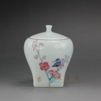 RYOK78 手绘粉彩花鸟图茶叶罐 盖罐 储物罐 尺寸:口径 6厘米 肚径 7.8厘米 高 9.3厘米