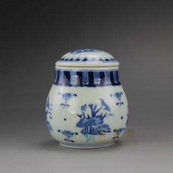 RYZ158-B 手绘青花荷莲图茶叶罐 盖罐 密封罐 尺寸:口径 6.1厘米 肚径 8.3厘米 高 9.2厘米