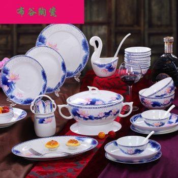 CJ53荷花玲珑富贵图纹骨瓷餐具套装 56头景德镇骨瓷餐具