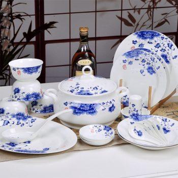 CJ35景德镇骨瓷餐具套装 56头青花玲珑 富贵牡丹 国色天香图纹骨瓷餐具