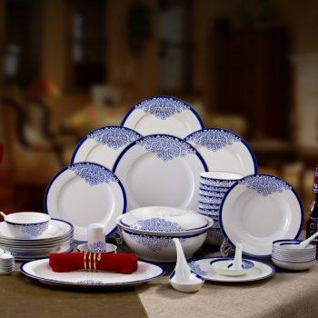 CJ17-MAIN-2景德镇陶瓷餐具套装 青花塞纳风情爱情海图纹56头骨瓷餐具 高脚碗 双耳品锅版