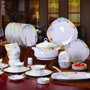 CJ54异国风情图纹骨瓷餐具套装 56头景德镇骨瓷餐具