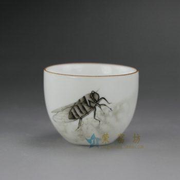 RYOK76-J 手绘粉彩知了图金边口茶杯 品茗杯 功夫茶具 尺寸; 口径 5.5厘米 高 4.5厘米 容量 55毫升