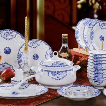 CJ23-RYDI64 景德镇陶瓷餐具套装 青花福字图纹56头骨瓷餐具
