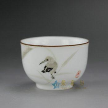 RYOK76-I 手绘粉彩芦苇小鸟金边口茶杯 品茗杯 功夫茶具 尺寸:口径 6.2厘米 高 4.3厘米 容量 60毫升