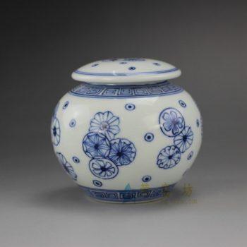RYZ159  手绘青花花球图纹茶叶罐 盖罐 密封罐 尺寸:口径 4.6厘米 肚径 9.1厘米 高 8.2厘米