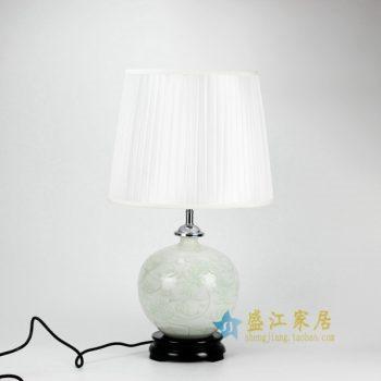DS35-AA 花色釉刻纹花卉陶瓷灯台底座 带罩灯具