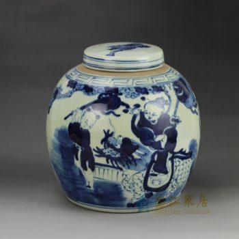 RZGC01-B 青花麒麟送子图瓷罐 盖罐 储物罐   尺寸: 口径 9.8厘米 肚径 22.6厘米  高 22.8厘米