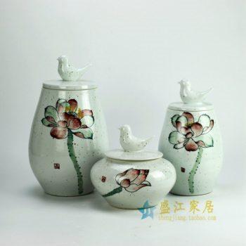 RYZW04 粉彩荷花图雕塑小鸟盖罐 瓷罐套组 储物罐