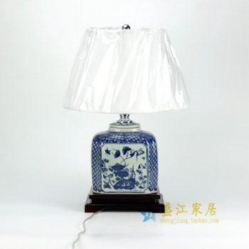 DS32-TM 青花海棠型荷莲花鸟屏画瓷罐底座灯台 带罩灯具