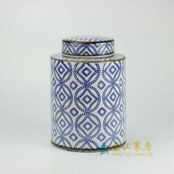 RYPU27-B 青花金钱圈纹瓷罐 盖罐 储物罐      尺寸:  口径 11厘米   肚径  19.5厘米  高  27.3厘米