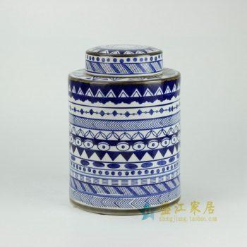 RYPU27-A 青花圈纹花格纹瓷罐 盖罐 储物罐      尺寸: 口径 11厘米   肚径  19.5厘米  高  27.5厘米
