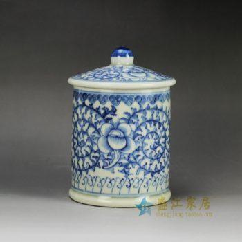RYLU59-B 青花缠枝花卉图纹茶杯 水杯 办公杯 尺寸: 口径 9厘米 盖径 10厘米 高15厘米 容量 450毫升