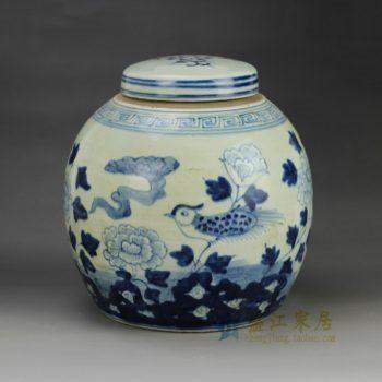 RZGC01-C 青花花鸟图案瓷罐 盖罐 储物罐    尺寸: 口径 9.8厘米  肚径 22.6厘米  高 22.8厘米