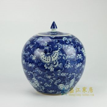 RYWD16 青花蝴蝶花卉图纹瓷罐 盖罐 储物罐 尺寸: 口径 13.3厘米 肚径 25.2厘米 高 27.5厘米