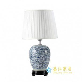 DS42-RYWD青花缠枝花卉陶瓷灯台底座 带罩灯具