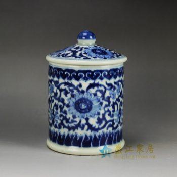 RYLU59-C青花缠枝花卉图纹茶杯 办公杯   尺寸: 口径  9厘米  盖径  10厘米  高   15厘米  容量   450毫升