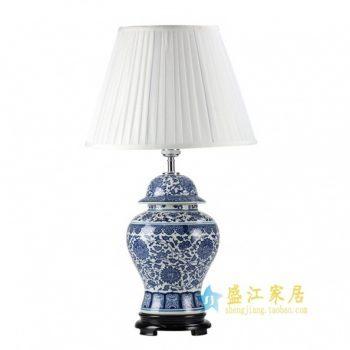 RZFU-04青花缠枝花卉将军罐陶瓷台灯底座 带罩灯具