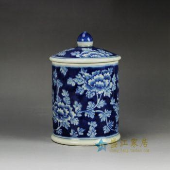 RYLU59-E 青花缠枝花卉图纹茶杯 办公杯 尺寸: 口径 9厘米 盖径 10厘米 高 15厘米 容量 450毫升