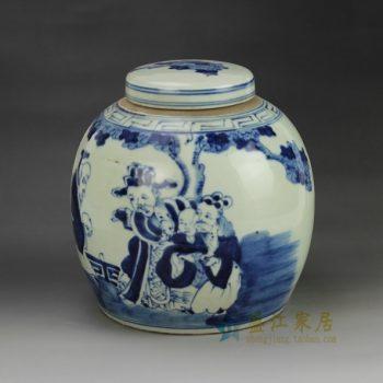 RZGC01-D 青花风景人物图瓷罐 盖罐 储物罐    尺寸:口径  9.8厘米   肚径  22.6厘米 高   22.8厘米