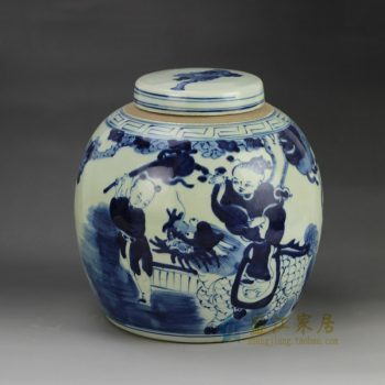 RZGC01-B 手绘人物青花瓷器坛 储物罐