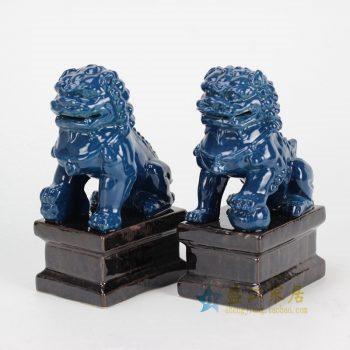 RYXP02-g 蓝色雕塑狮子 摆件