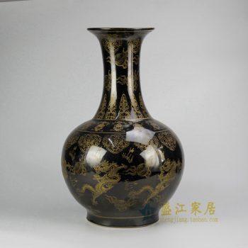 RYRJ13乌金釉龙纹赏瓶 瓷器花瓶