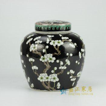 RYQQ34-C 黑底梅花罐子 坛 盖罐