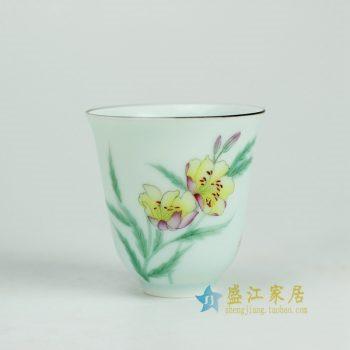 RYOK80-B_景德镇陶瓷 纯手绘 粉彩 花草 茶杯 茶具