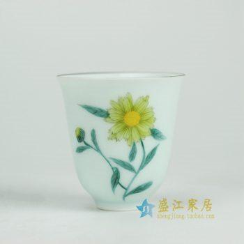 RYOK80-A_景德镇陶瓷 纯手绘 粉彩 花草 茶杯 茶具