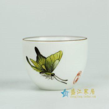 RYOK76-L_景德镇陶瓷 纯手绘 粉彩描金边 蝴蝶 茶杯 茶具