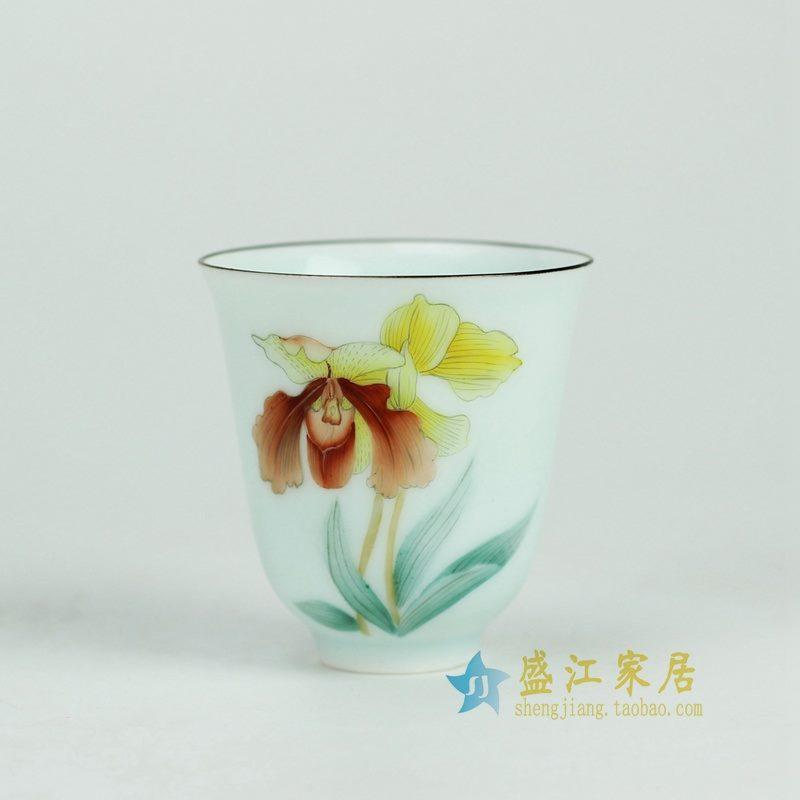 盛江陶瓷 手绘粉彩 描金边 公道杯