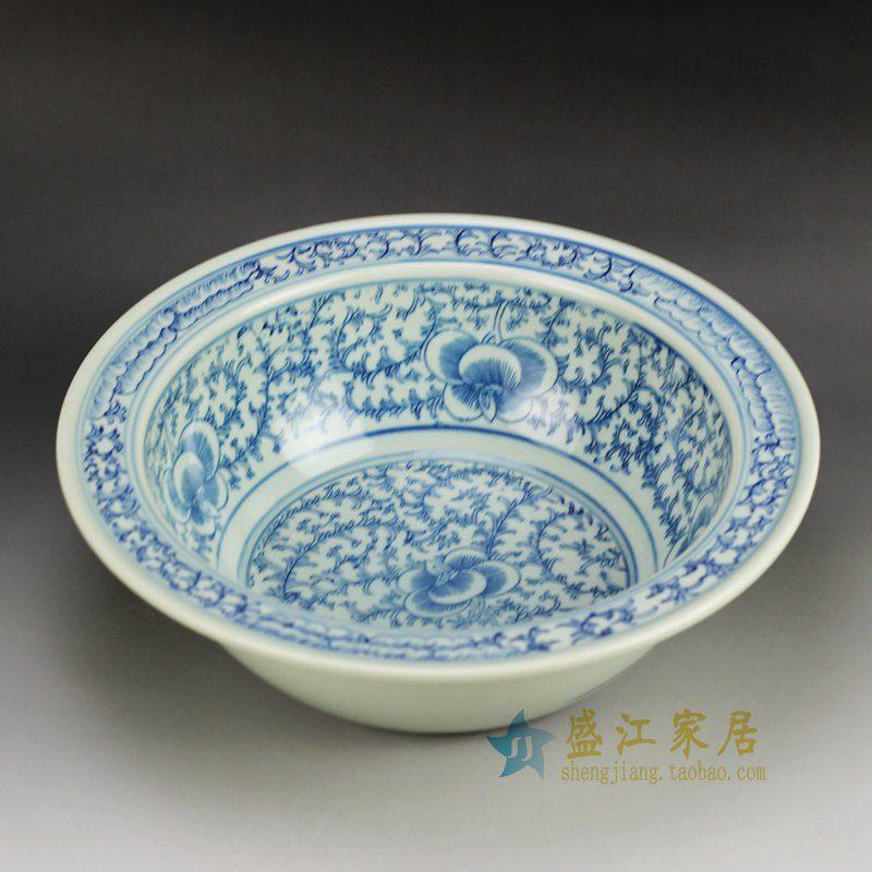 盛江陶瓷 手绘青花 缠枝花盆