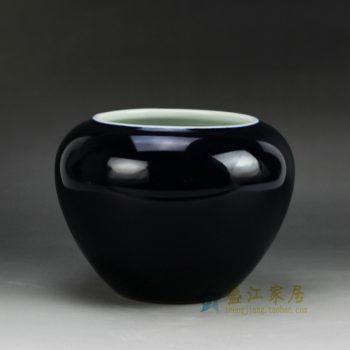 RYRQ03_景德镇陶瓷 颜色釉 深蓝色陶瓷罐 花插 花瓶 家居摆件品