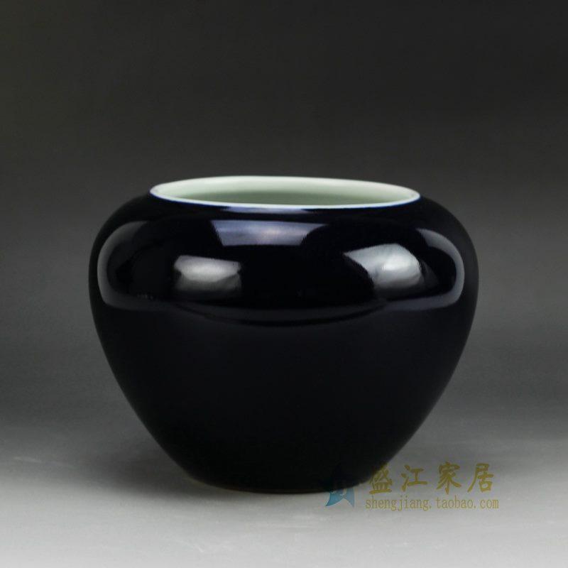 盛江陶瓷 颜色釉 深蓝色陶瓷罐 花插 花瓶 家居摆件品