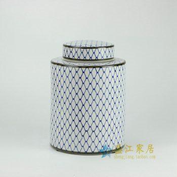RYPU27-C_景德镇陶瓷 青花圈格纹储物罐 盖罐