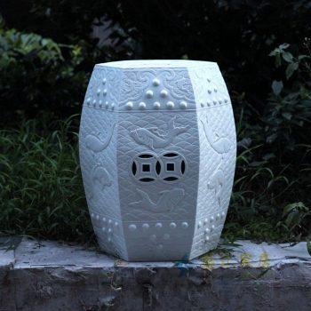 RYOM02-NEW_景德镇陶瓷 白色浮雕 铜钱 六方陶瓷凳 凉墩