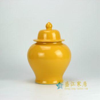 RYKB131-B_景德镇陶瓷 颜色釉 黄色将军罐 盖罐 储物罐