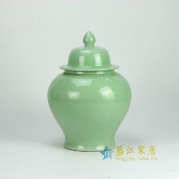 RYKB131-A_景德镇陶瓷 颜色釉 绿色将军罐 茶叶罐 储物罐