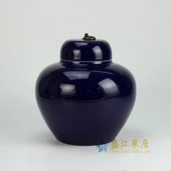 RYKB123-D_景德镇陶瓷 颜色釉 祭蓝色 苹果罐 矮罐 储物罐