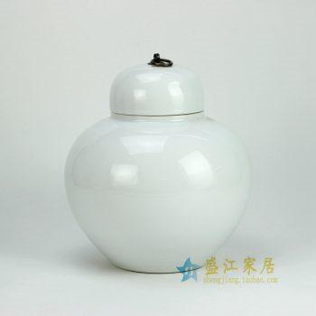 RYKB120-E_景德镇陶瓷 颜色釉白色 苹果罐 矮罐 茶叶罐