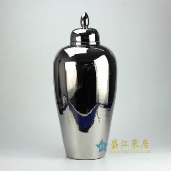 RYKB81-B_景德镇陶瓷 颜色釉 银色 盖罐 储物罐