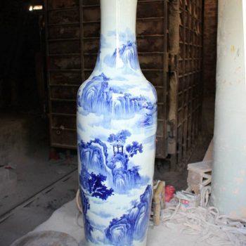 RYFJ10_景德镇陶瓷 手绘青花山水 落地大花瓶