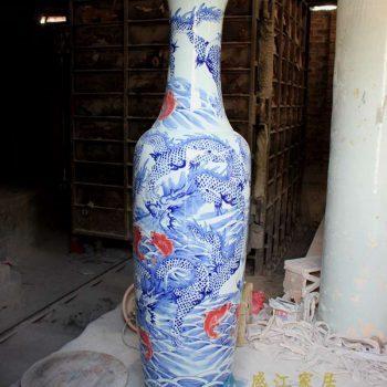 RYFJ09_景德镇陶瓷 手绘青花釉里红 龙纹落地大花瓶
