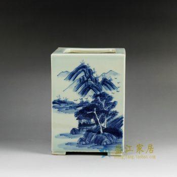 RYCZ09_景德镇陶瓷 手绘青花山水 笔筒